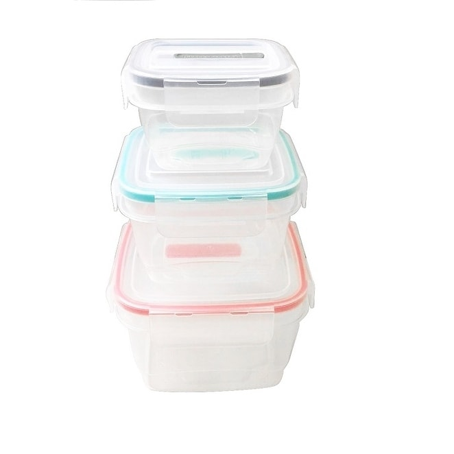 Square Food Storage Container Set Food Storage With Clip Vented Lid Set Of 3