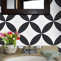Orient in White and Black Handmade 8x8-in Moroccan Tile, Pack of 12