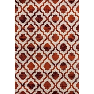 "1672 Cream Burgundy 5 x 7 Area Rug - 5'2"" x 7'2"""