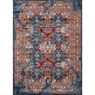 "1509 Modern Bohemian Multi colored Distress Styled 5x7 Area Rug Blue - 5'2"" x 7'2"""