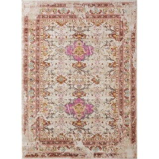 """1509 Modern Bohemian Multi colored Distress Styled 5x7 Area Rug Ivory - 5'2"""" x 7'2"""""""