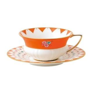Wedgwood Wonderlust Peony Diamond Teacup and Saucer Set