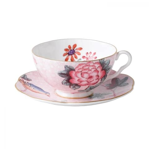 Cuckoo Pink Fine Bone China Teacup and Saucer Set