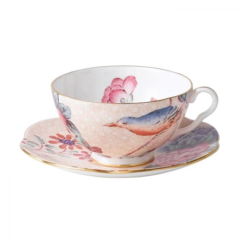 Cuckoo Peach Fine Bone China Teacup and Saucer Set