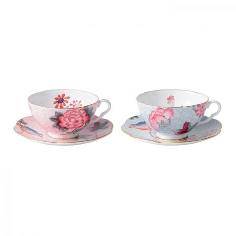 Cuckoo Pink and Blue Fine Bone China Teacups and Saucers (Set of 2)