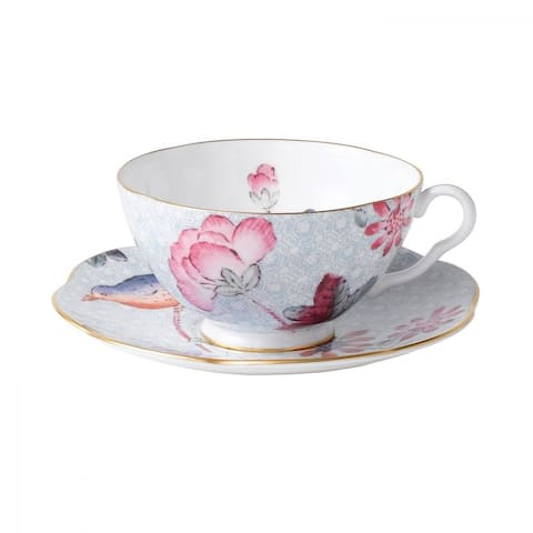 Cuckoo Blue Fine Bone China Teacup and Saucer Set with Gold Edge Line
