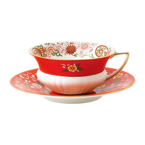 Wedgwood Wonderlust Crimson Orient Teacup and Saucer Set