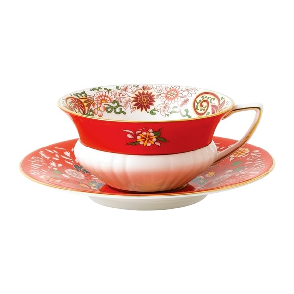 Wedgwood Wonderlust Crimson Orient Teacup and Saucer Set