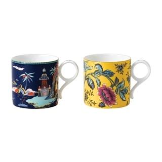 Wonderlust Blue Pagoda and Yellow Tonquin Mugs (Set of 2)