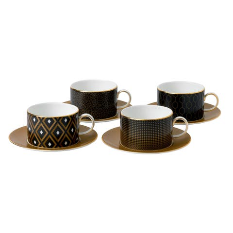 Arris Fine Bone China Accent Teacups and Saucers (Set of 4)