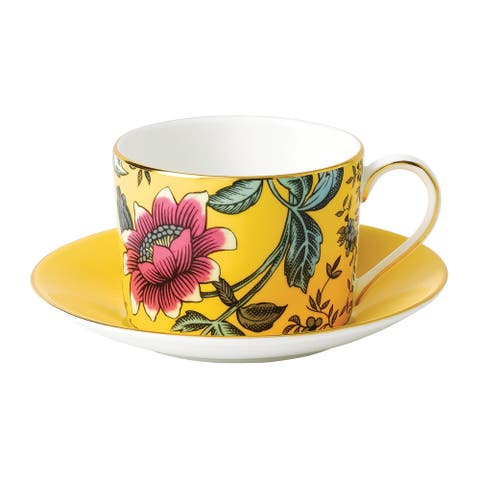 Wedgwood Wonderlust Yellow Tonquin Teacup and Saucer Set
