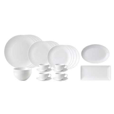 Gio White 26-piece Fine Bone China Dinnerware Set