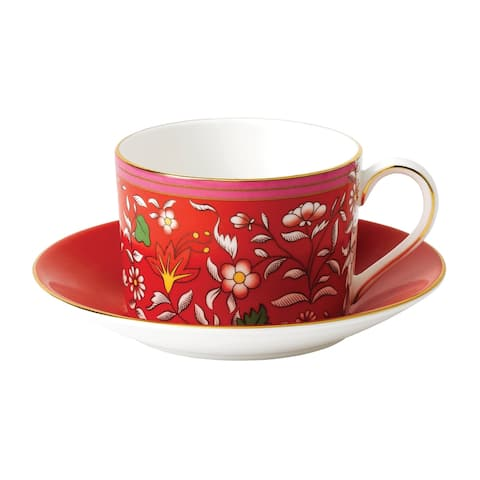 Wedgwood Wonderlust Crimson Jewel Teacup and Saucer Set