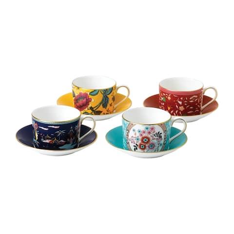 Wonderlust Fine Bone China Teacups and Saucers (Set of 4)