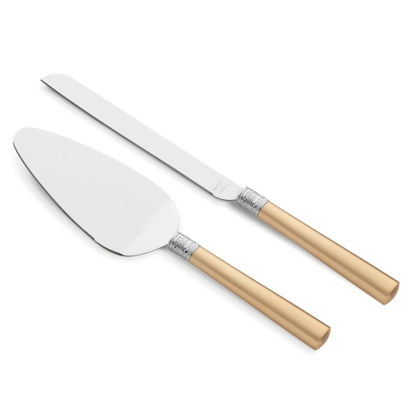 With Love Gold Metal Cake Knife and Server Set