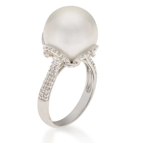 PearLustre by Imperial Sterling Silver Freshwater Windsor Pearl and White Topaz Ring