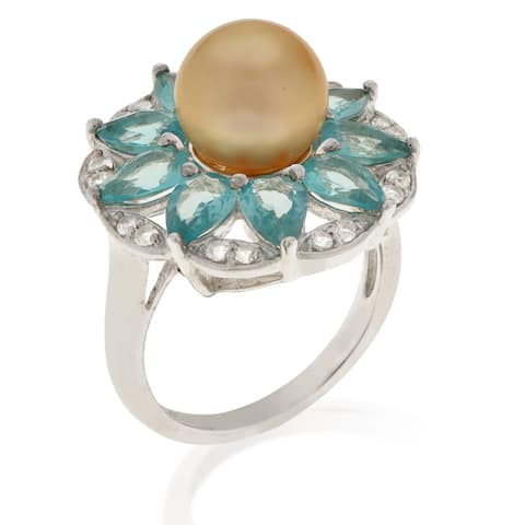 PearLustre by Imperial Sterling Silver Golden South Sea Pearl and Apatite Ring