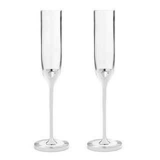 Vera Love Always Metal and Crystal Toasting Flutes (Set of 2)