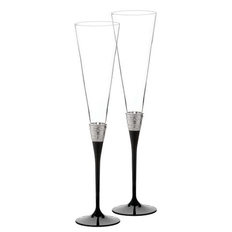 With Love Noir Metal and Crystal Toasting Flutes (Set of 2)