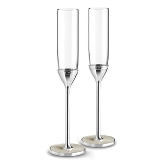 With Love Nouveau Metal and Crystal Toasting Flutes (Set of 2)