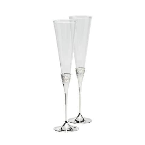 With Love Metal and Crystal Toasting Flutes (Set of 2)