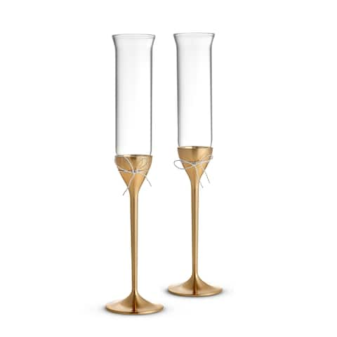 Love Knots Gold Metal and Crystal Toasting Flutes (Set of 2)