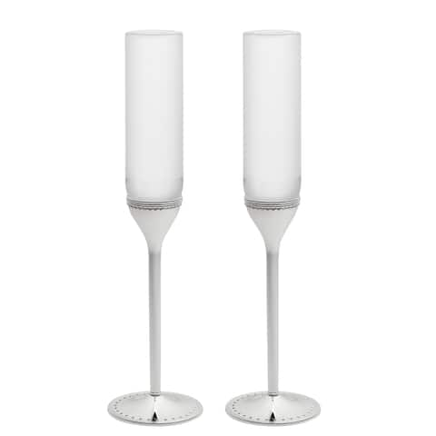 Grosgrain Metal and Crystal Toasting Flutes (Set of 2)