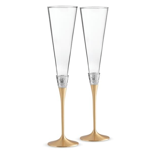 With Love Gold Metal and Crystal Toasting Flutes (Set of 2)
