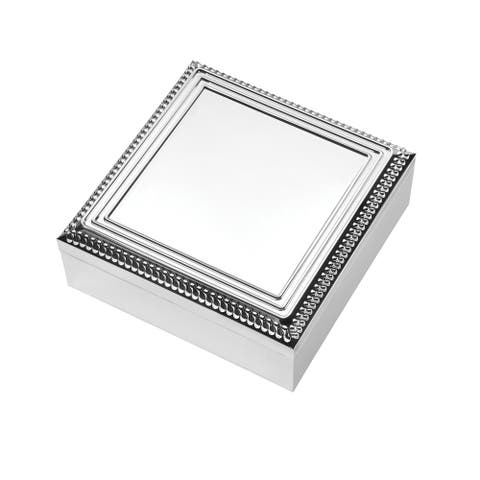With Love Silver Plated 7.5-inch Metal Square Keepsake Box