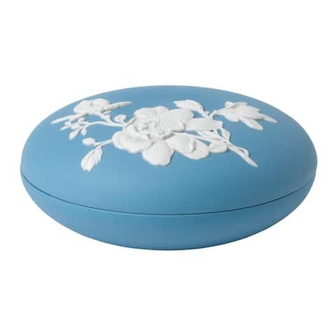 Wedgwood Jasperware Blue 5-inch Magnolia Blossom Box