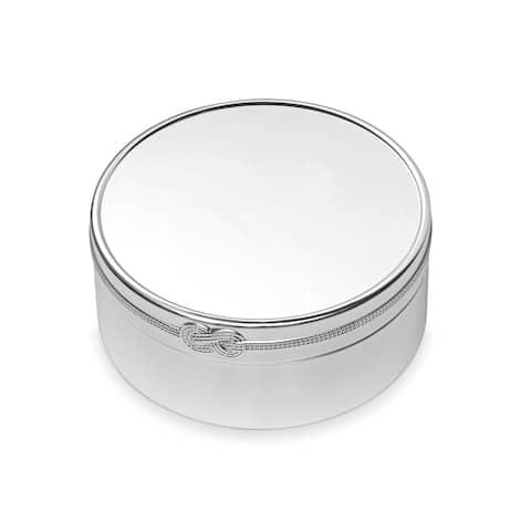 Vera Infinity Silver Plated 7.5-inch Metal Round Keepsake Box