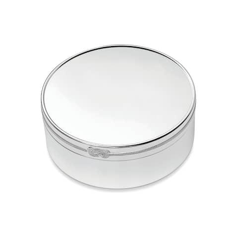Vera Infinity Silver Plated 4-inch Metal Round Keepsake Box