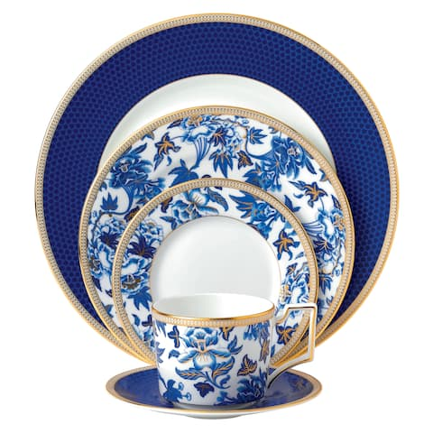 Hibiscus Blue and White 5-piece Fine Bone China Place Setting