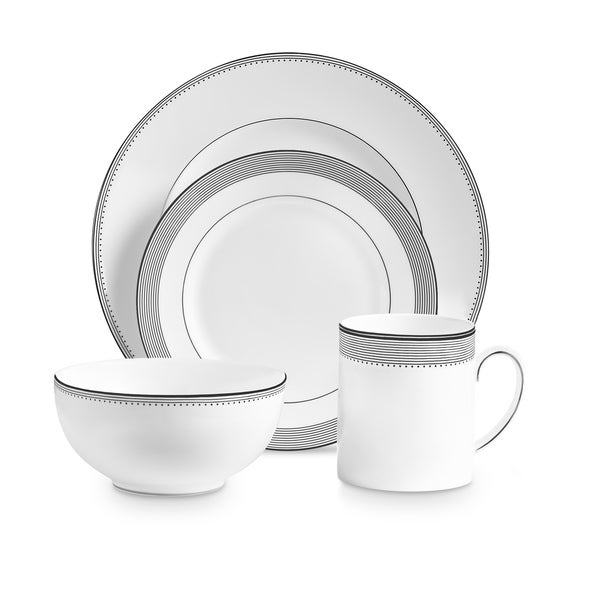 Grosgrain White 4-piece Fine Bone China Place Setting