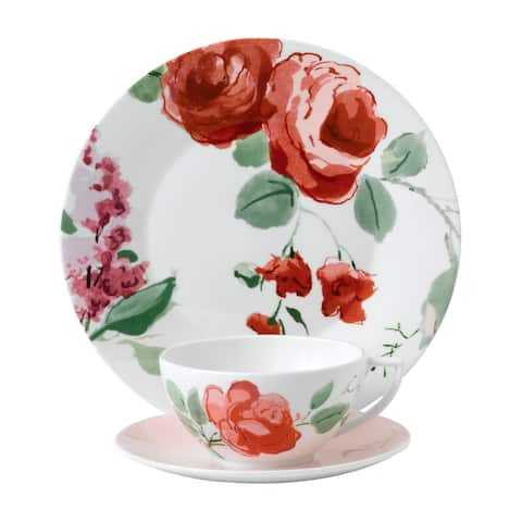 Floral 9-inch 3-piece Fine Bone China Rose Place Setting