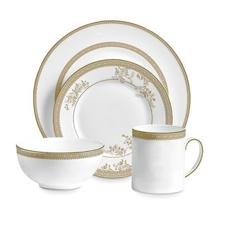 Vera Lace White and Gold 4-piece Fine Bone China Setting