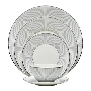Pin Stripe White 5-piece Fine Bone China Place Setting