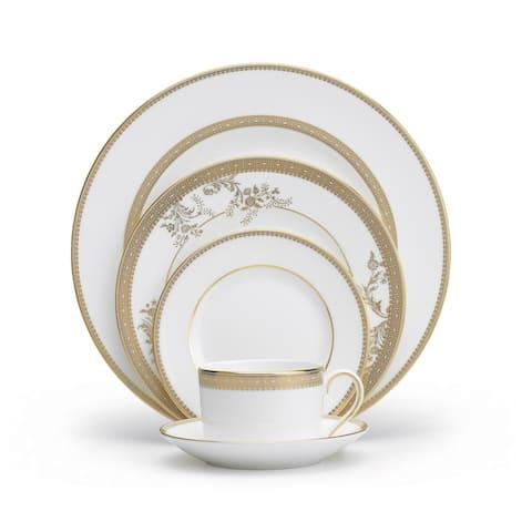 Vera Lace White and Gold 5-piece Fine Bone China Place Setting
