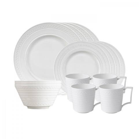 Intaglio White 16-piece Fine Bone China Place Setting