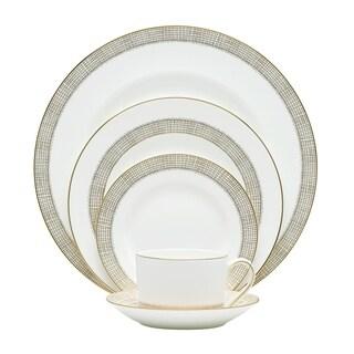 Gilded Weave White 5-piece Fine Bone China Place Setting