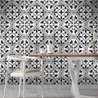 Casa in White and Black Handmade 8x8-in Moroccan Tile, Pack of 12
