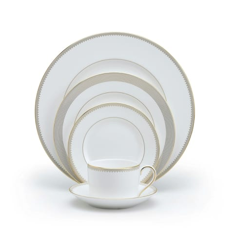 Golden Grosgrain White 5-piece Fine Bone China Place Setting