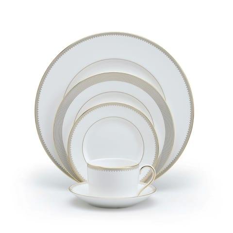Golden Grosgrain White 5-piece Fine Bone China Place Setting