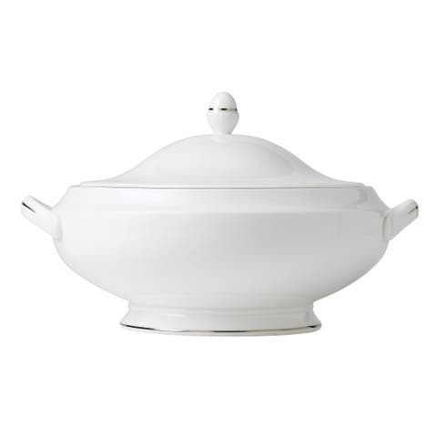 Signet Platinum 9.75-inch Fine Bone China Covered Vegetable Bowl