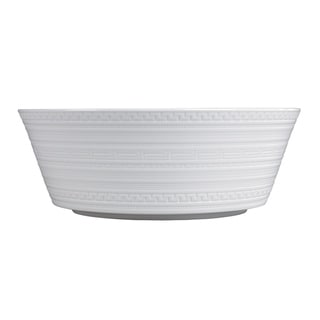 White Glaze 10-inch Intaglio Fine Bone China Large Serving Bowl