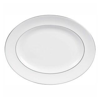 Blanc Sur Blanc White 15.25-inch Fine Bone China Oval Platter