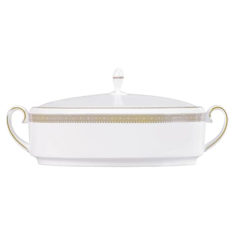 Vera Lace Gold 1.5-qt Fine Bone China Covered Vegetable Bowl
