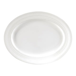 White Glaze 13.75-inch Intaglio Fine Bone China Oval Platter