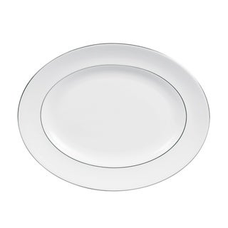 Blanc Sur Blanc White 13.75-inch Fine Bone China Oval Platter