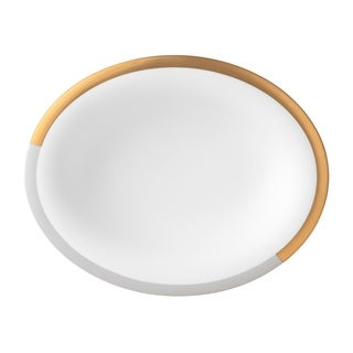 Vera Castillon Gold and Grey 9.75-inch Oval Open Vegetable Bowl